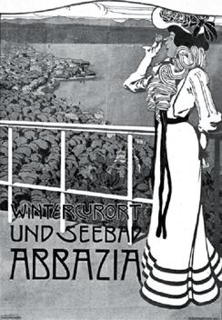 Открытка 1911 г., рекламирующая курорт Опатия